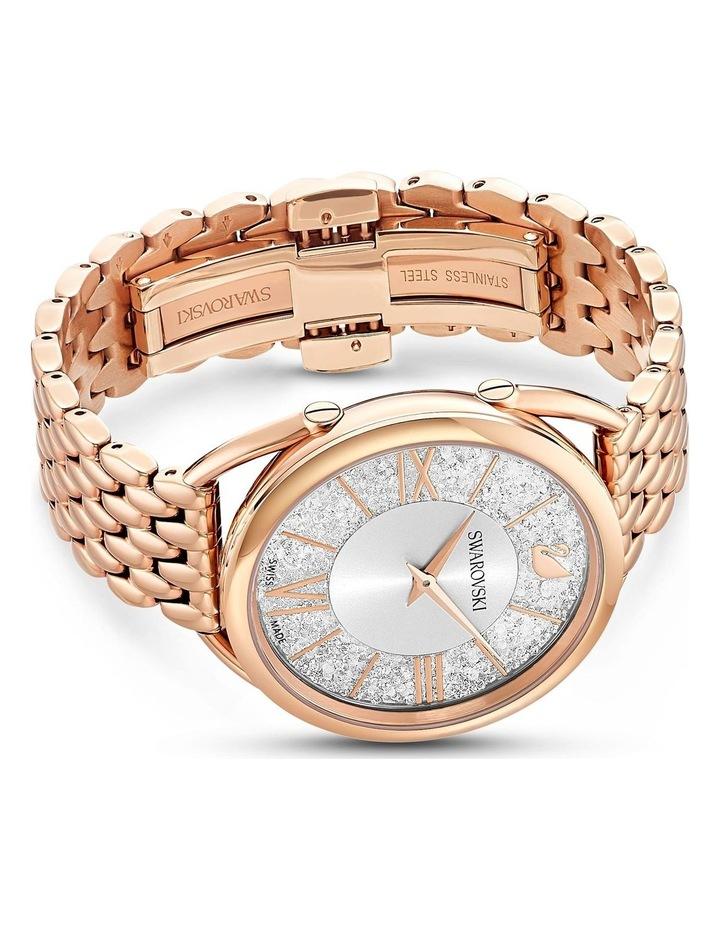 Crystalline Glam Watch - Metal Bracelet - White - Rose-Gold Tone Pvd image 3