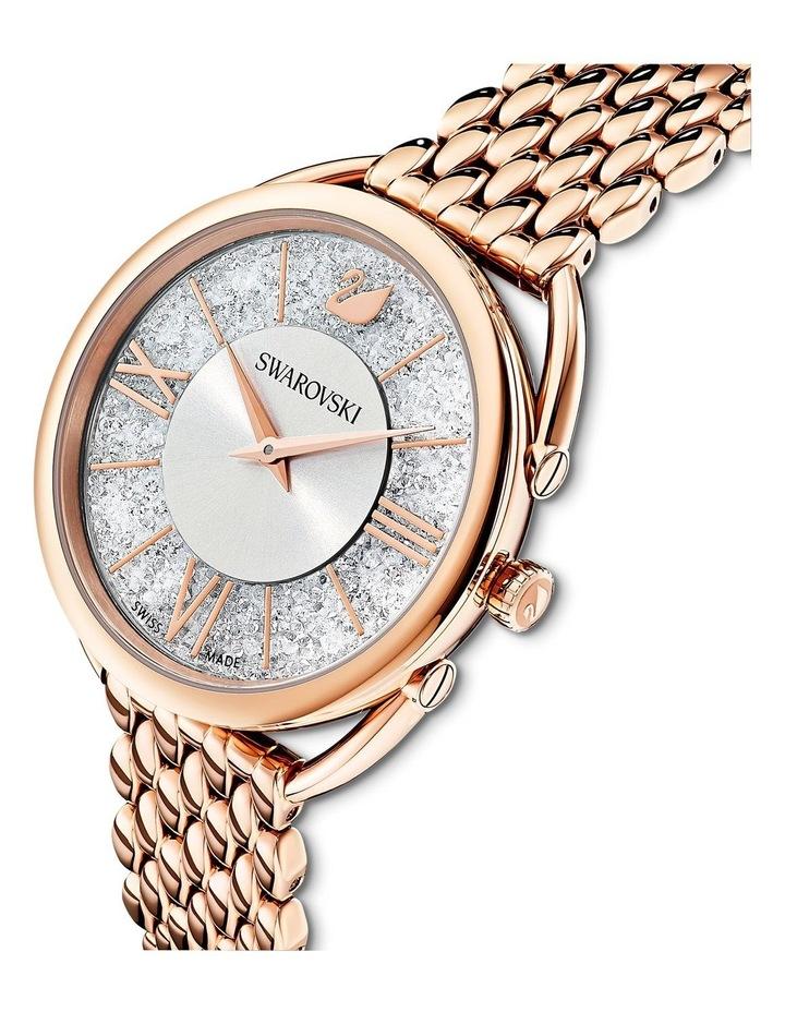Crystalline Glam Watch - Metal Bracelet - White - Rose-Gold Tone Pvd image 4