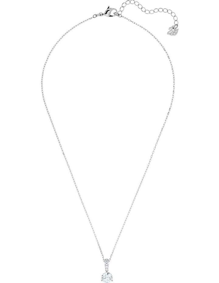 Solitaire Pendant - White - Rhodium Plated image 2