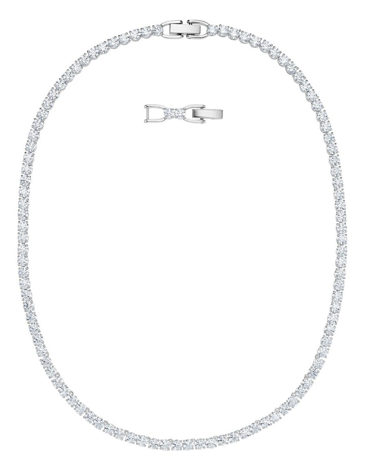 Tennis Deluxe Necklace - White - Rhodium Plated image 1