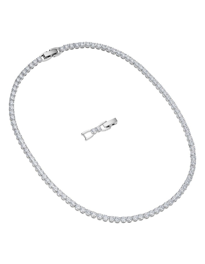 Tennis Deluxe Necklace - White - Rhodium Plated image 2