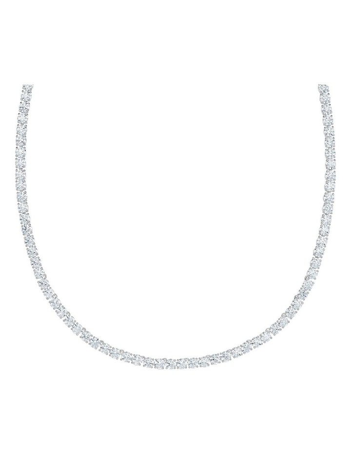 Tennis Deluxe Necklace - White - Rhodium Plated image 3