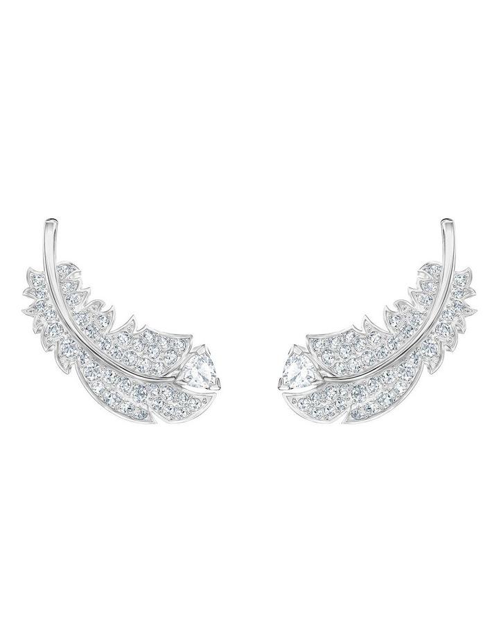 Nice Stud Pierced Earrings - White - Rhodium Plated image 1