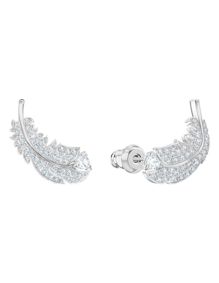 Nice Stud Pierced Earrings - White - Rhodium Plated image 2