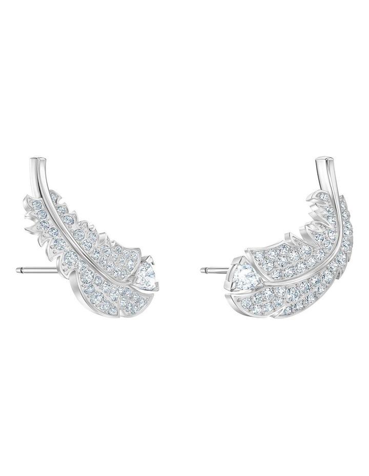 Nice Stud Pierced Earrings - White - Rhodium Plated image 3