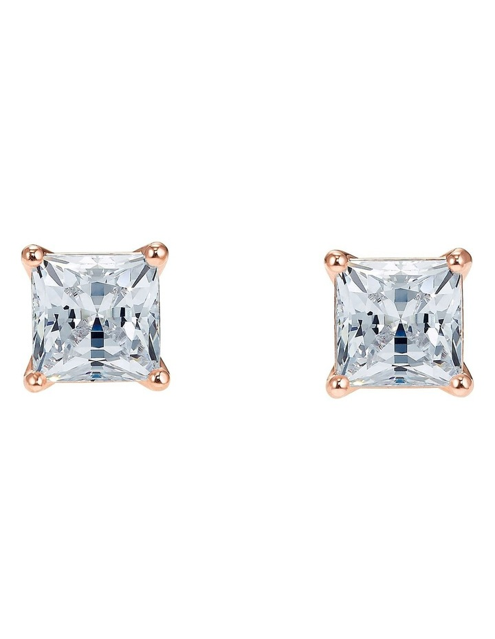 Attract Pierced Earrings - White - Rose-gold Tone Plated image 1