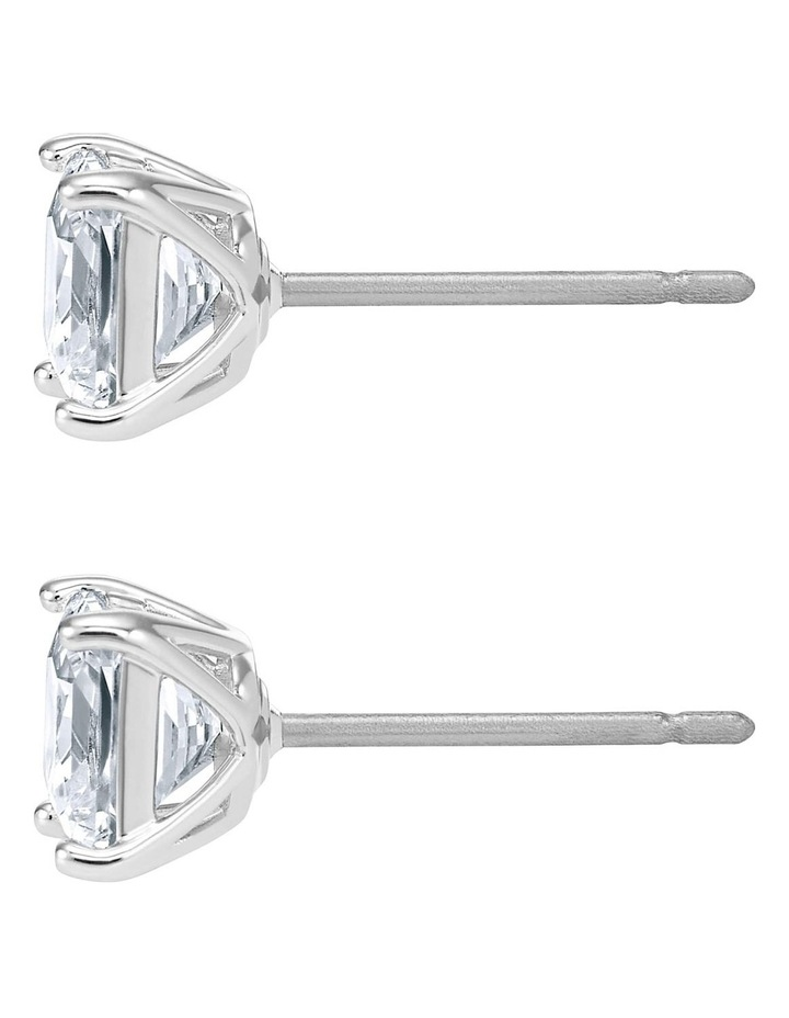 Attract Pierced Earrings - White - Rhodium Plated image 3