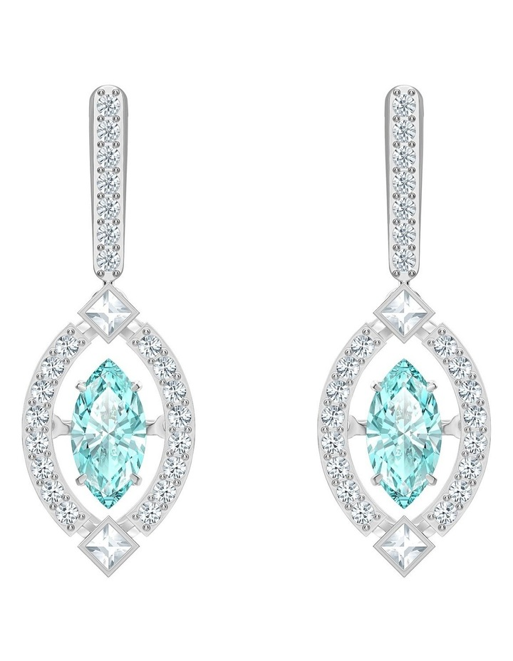 Sparkling Dance Pierced Earrings - Green - Rhodium Plated image 1