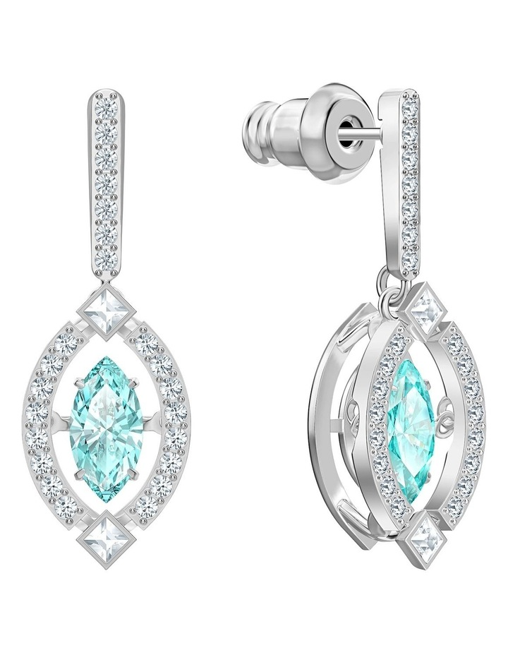 Sparkling Dance Pierced Earrings - Green - Rhodium Plated image 2