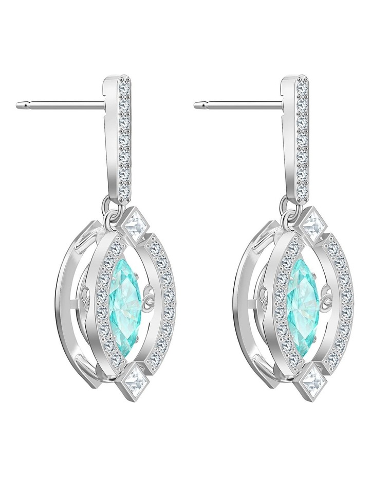 Sparkling Dance Pierced Earrings - Green - Rhodium Plated image 3