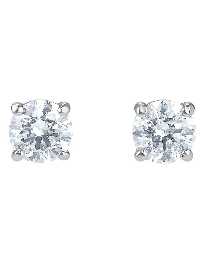 Attract Stud Pierced Earrings - White - Rhodium Plated image 1