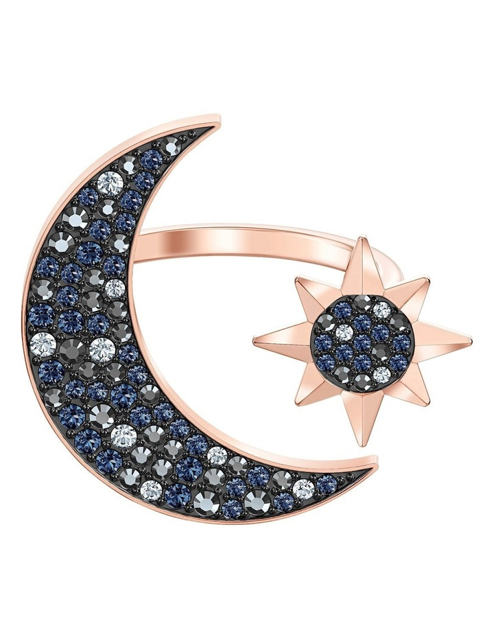 Symbolic Moon Ring - Multi-colored - Rose-gold Tone Plated 58mm image 1