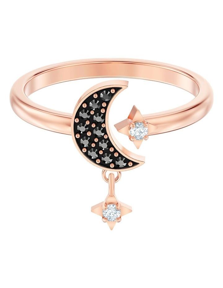 Symbolic Moon Motif Ring - Black - Rose-gold Tone Plated 55mm image 1