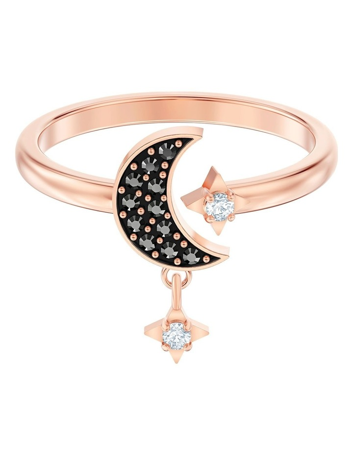 Symbolic Moon Motif Ring - Black - Rose-gold Tone Plated 58mm image 1