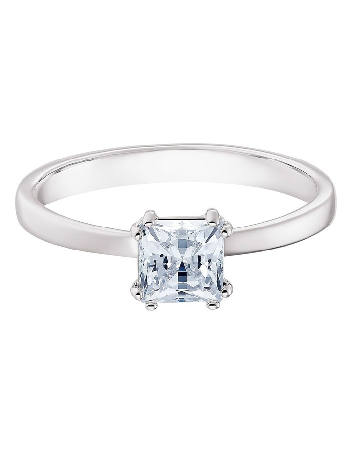 Attract Motif Ring - White - Rhodium Plated 52mm image 1