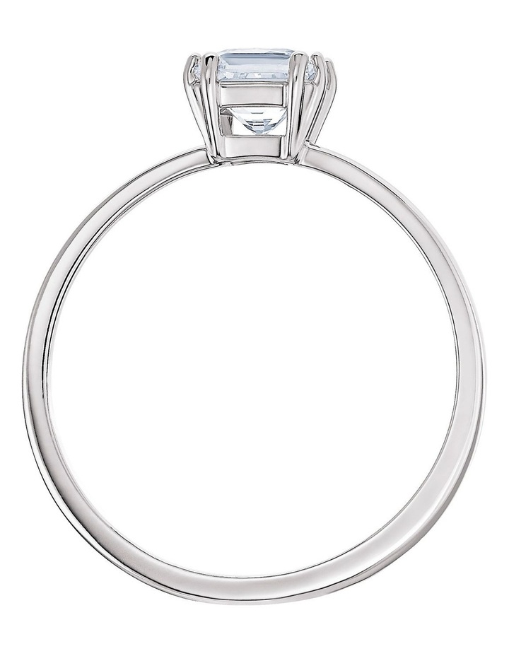 Attract Motif Ring - White - Rhodium Plated 60mm image 2