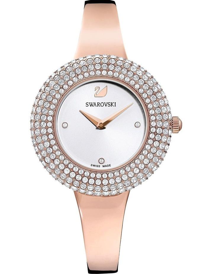 Crystal Rose Watch - Metal Bracelet - White - Rose-Gold Tone Pvd image 1