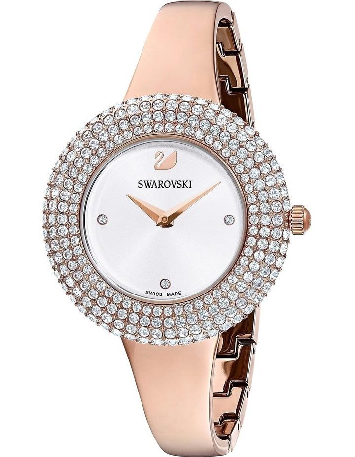 Crystal Rose Watch - Metal Bracelet - White - Rose-Gold Tone Pvd image 3