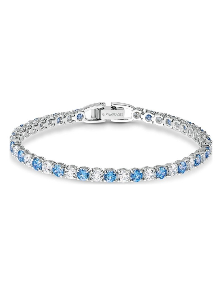 Tennis Deluxe Bracelet - Blue - Rhodium Plated image 1