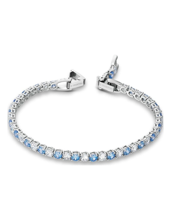 Tennis Deluxe Bracelet - Blue - Rhodium Plated image 3