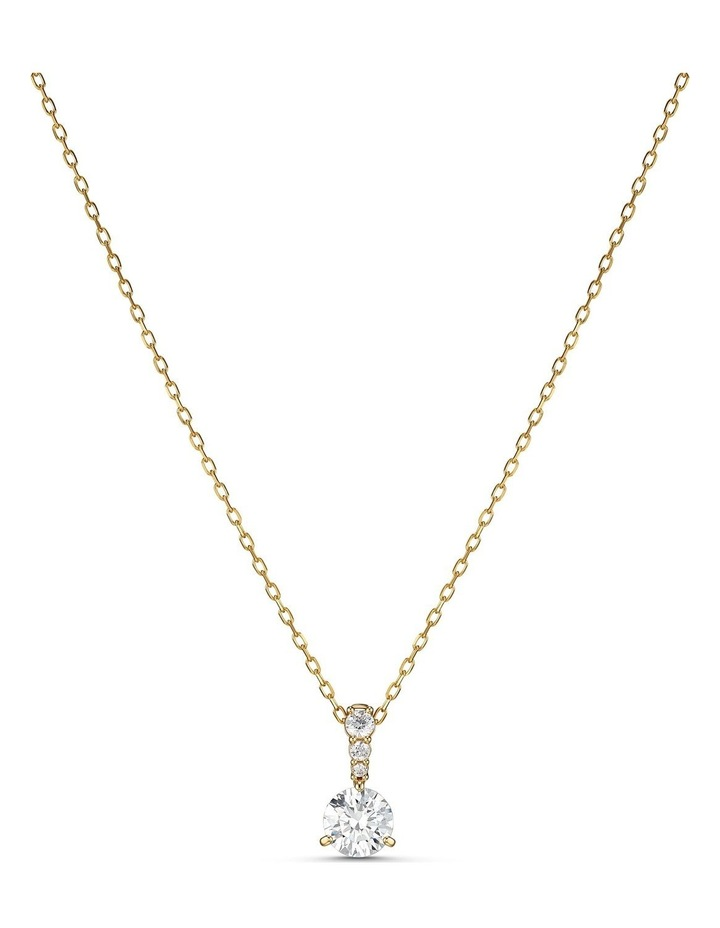 Solitaire Pendant - White - Gold-tone Plated image 1