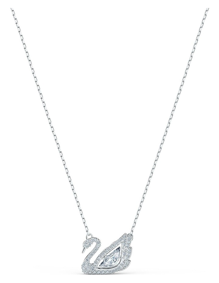Dancing Swan Necklace - White - Rhodium Plated image 1