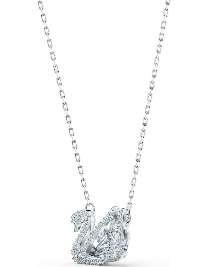Dancing Swan Necklace - White - Rhodium Plated image 3