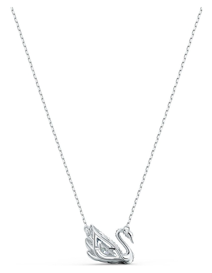 Dancing Swan Necklace - White - Rhodium Plated image 4