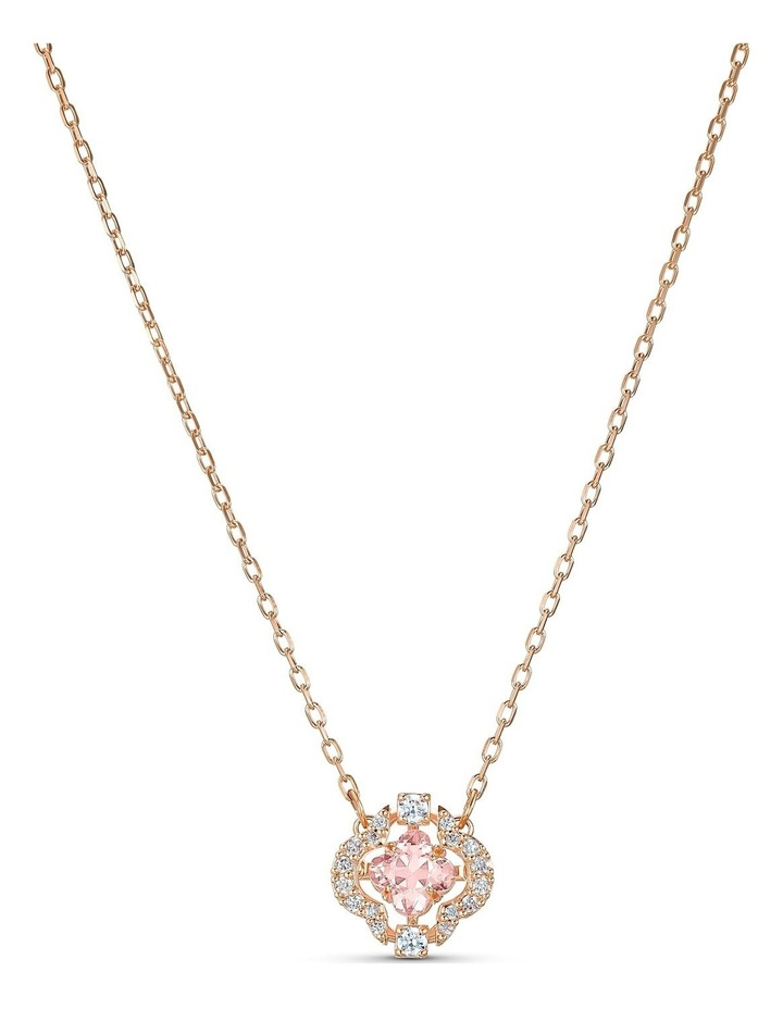 Sparkling Dance Clover Necklace - Pink - Rose-gold Tone Plated image 1