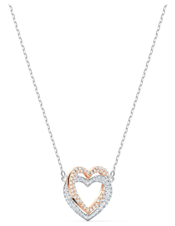 Infinity Double Heart Necklace - White - Mixed Metal Finish image 1