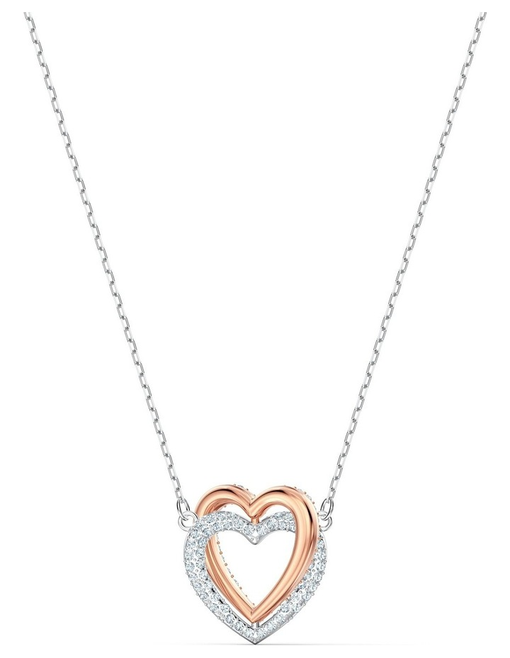 Infinity Double Heart Necklace - White - Mixed Metal Finish image 3