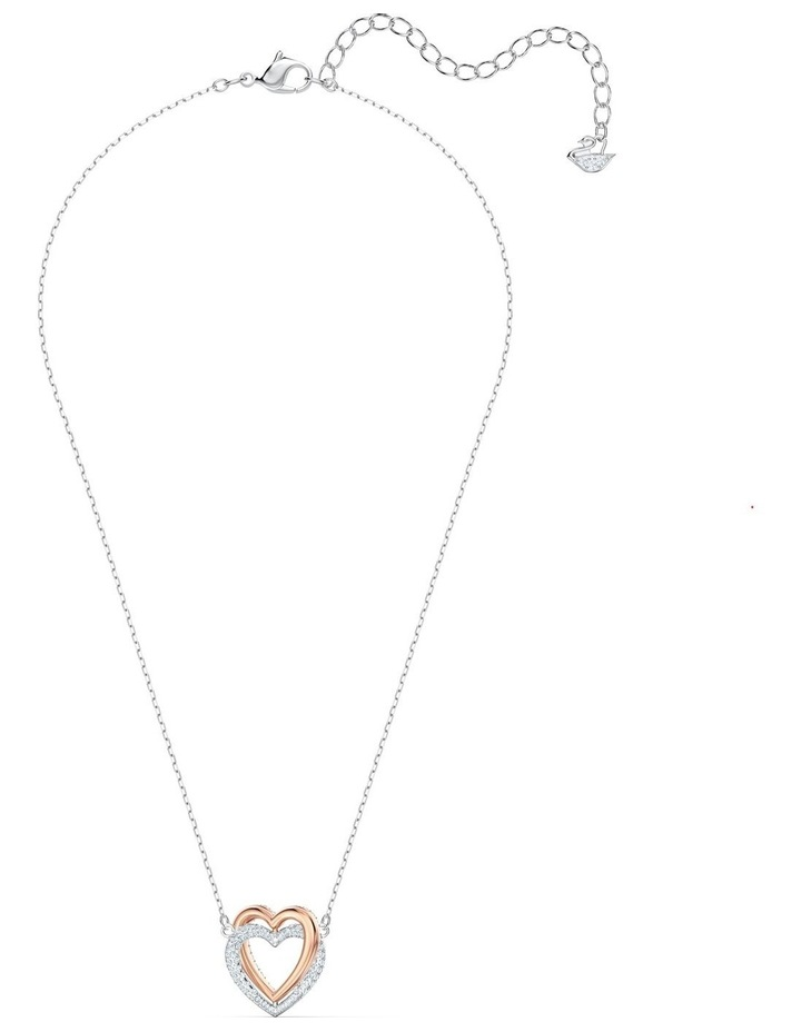 Infinity Double Heart Necklace - White - Mixed Metal Finish image 4
