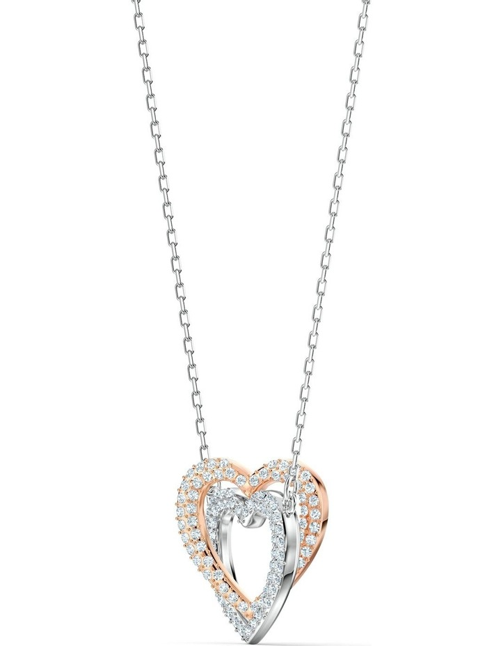 Infinity Double Heart Necklace - White - Mixed Metal Finish image 5