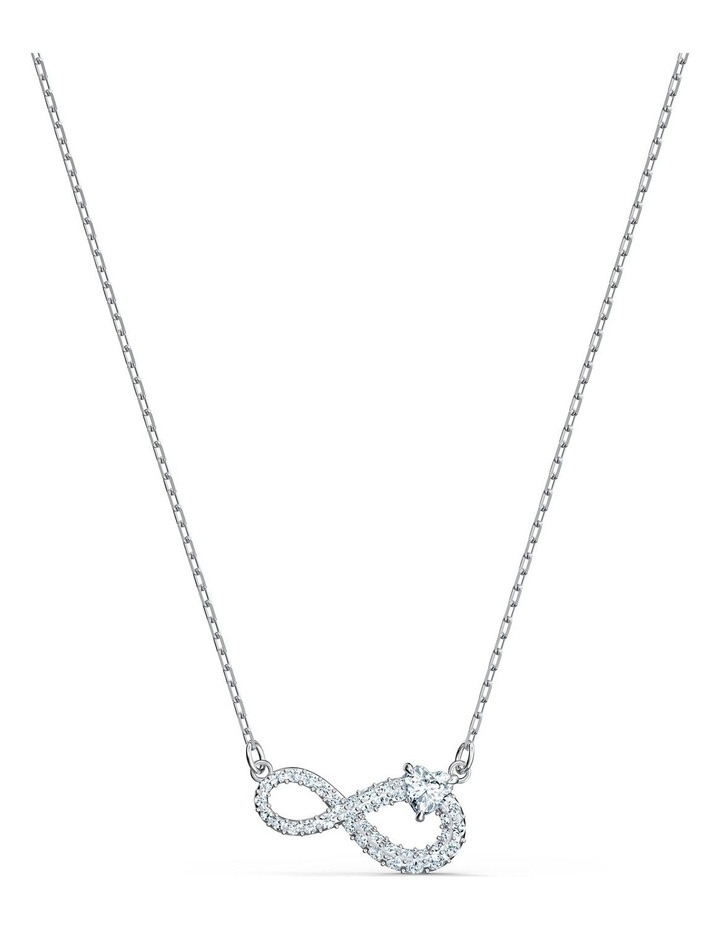 Infinity Necklace - White - Rhodium Plated image 1