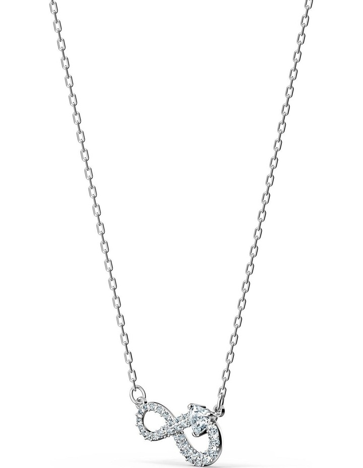 Infinity Necklace - White - Rhodium Plated image 3