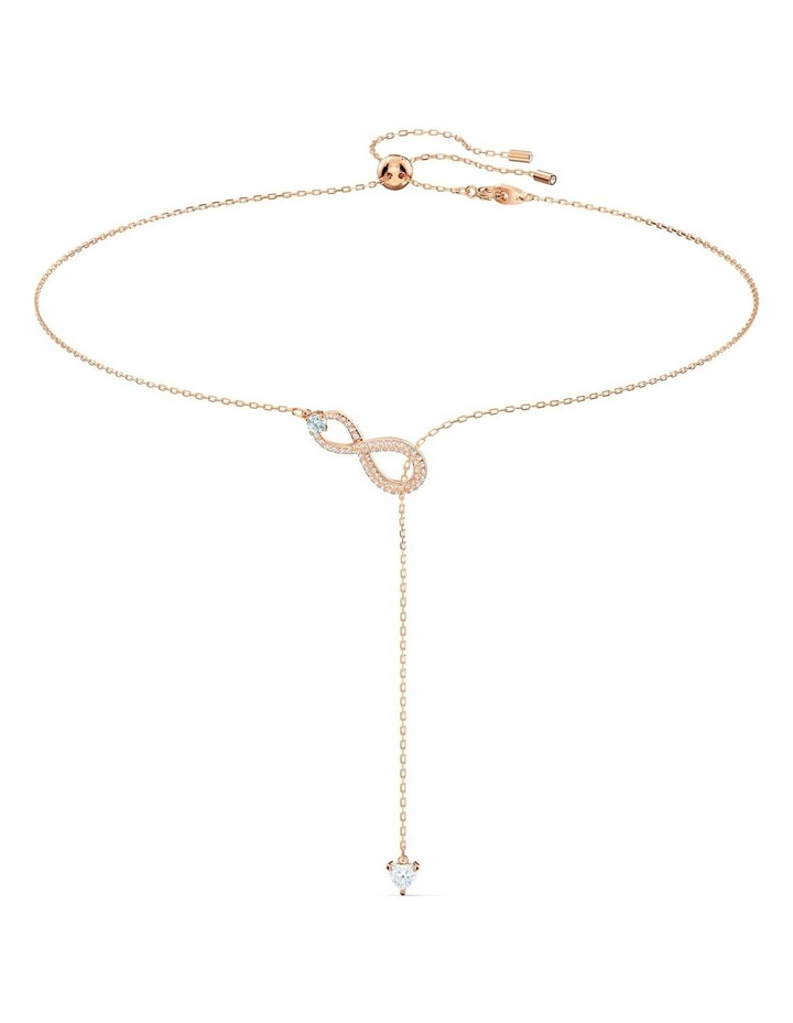 Infinity Y Necklace - White - Rose-gold Tone Plated image 1