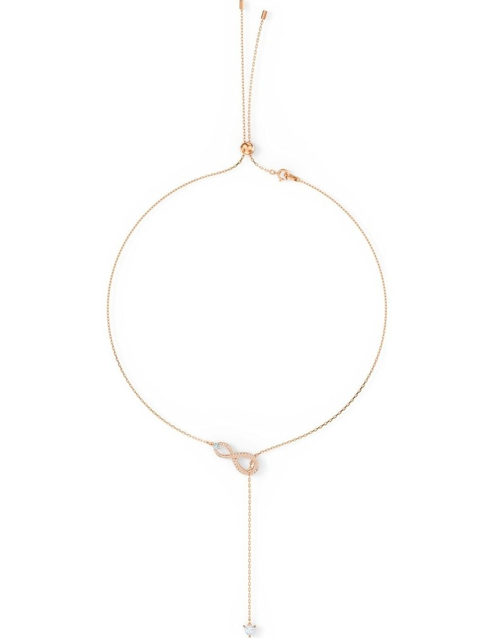 Infinity Y Necklace - White - Rose-gold Tone Plated image 3