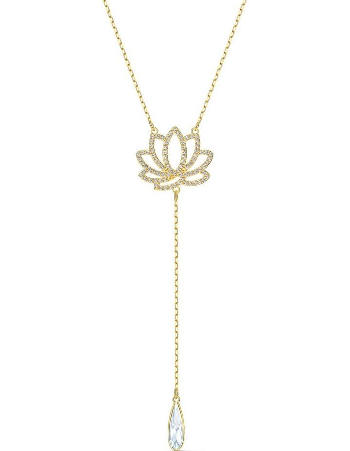 Symbolic Lotus Necklace - White - Gold-tone Plated image 1