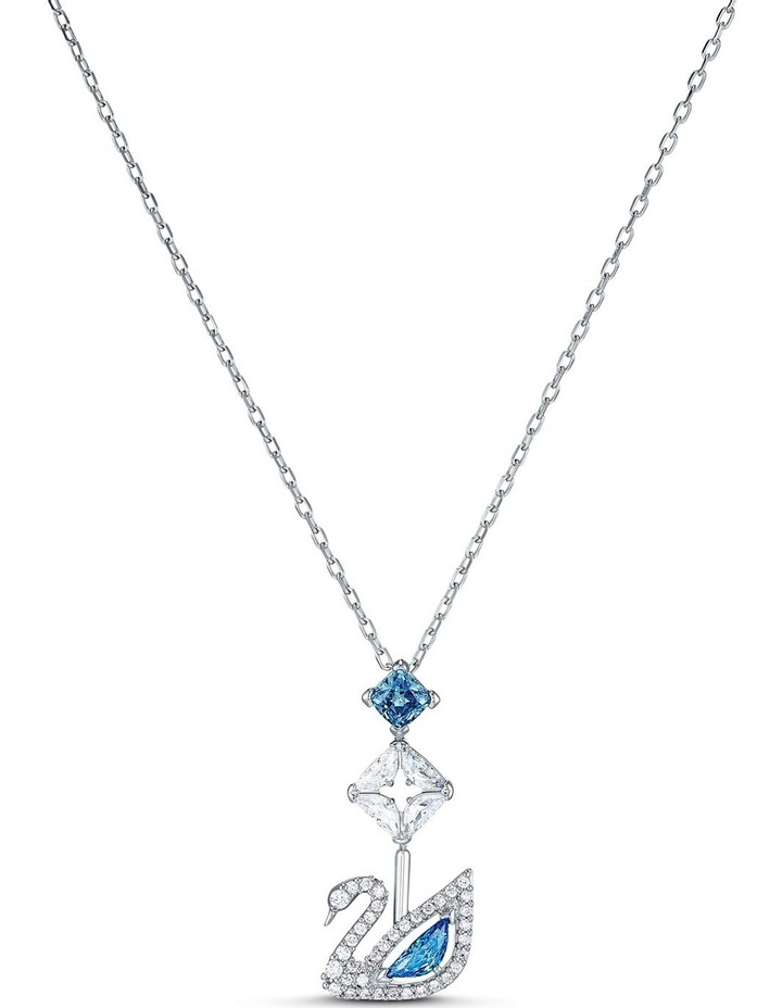 Dazzling Swan Necklace - Blue - Rhodium Plated image 1