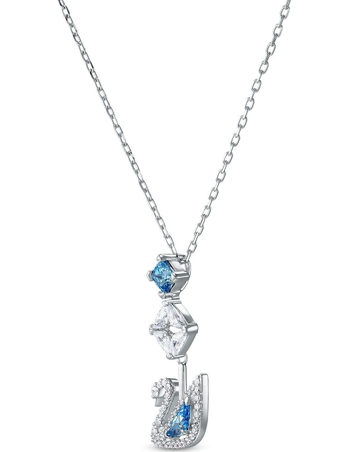 Dazzling Swan Necklace - Blue - Rhodium Plated image 3