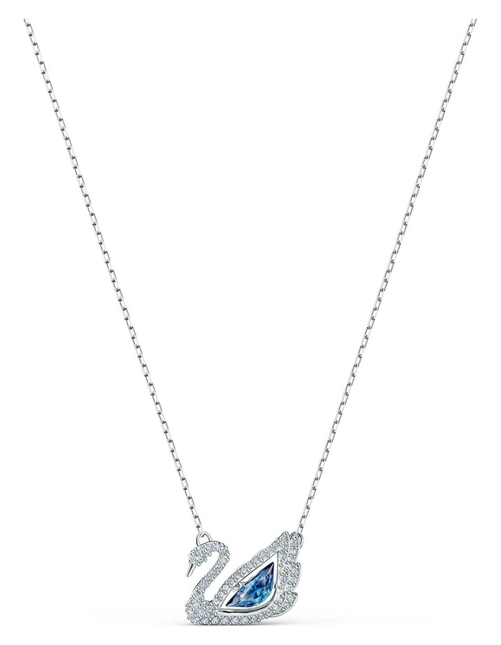 Dancing Swan Necklace - Blue - Rhodium Plated image 1