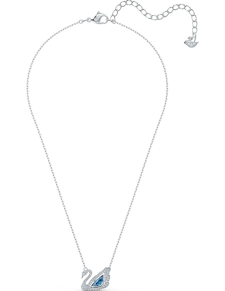 Dancing Swan Necklace - Blue - Rhodium Plated image 2