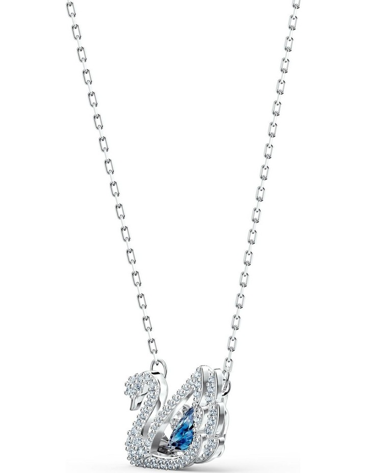Dancing Swan Necklace - Blue - Rhodium Plated image 3