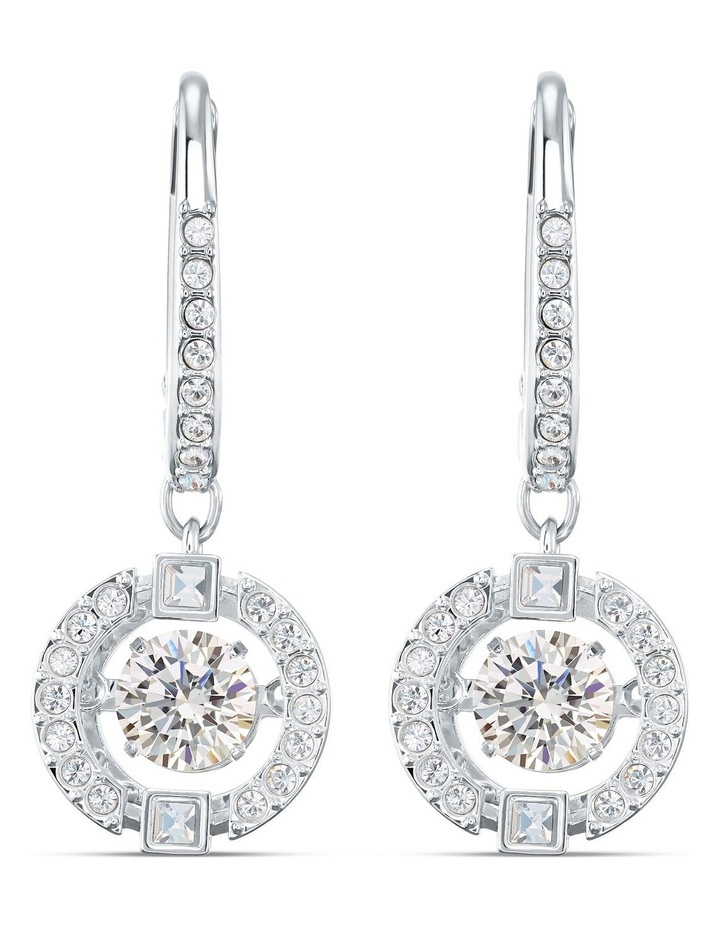 Sparkling Dance Pierced Earrings - White - Rhodium Plated image 1
