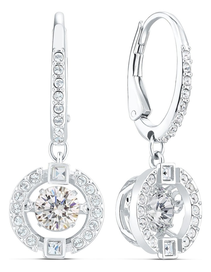 Sparkling Dance Pierced Earrings - White - Rhodium Plated image 2