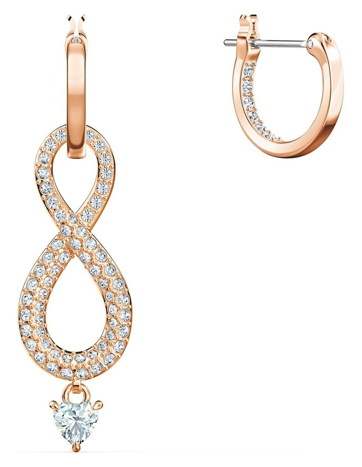 Infinity Pierced Earrings - White - Rose-gold Tone Plated image 3