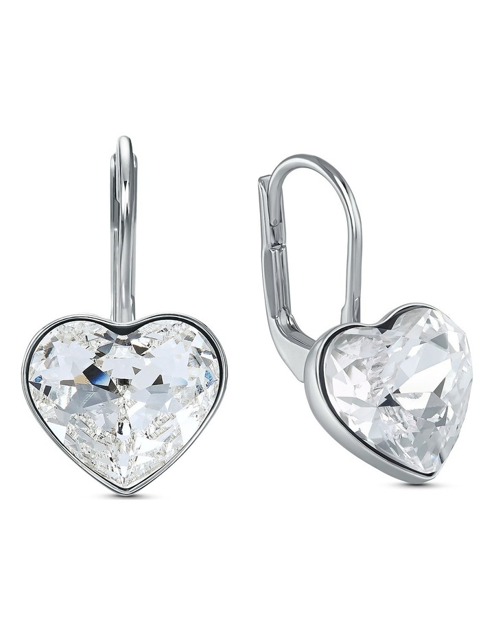 Bella Heart Pierced Earrings - White - Rhodium Plated image 2
