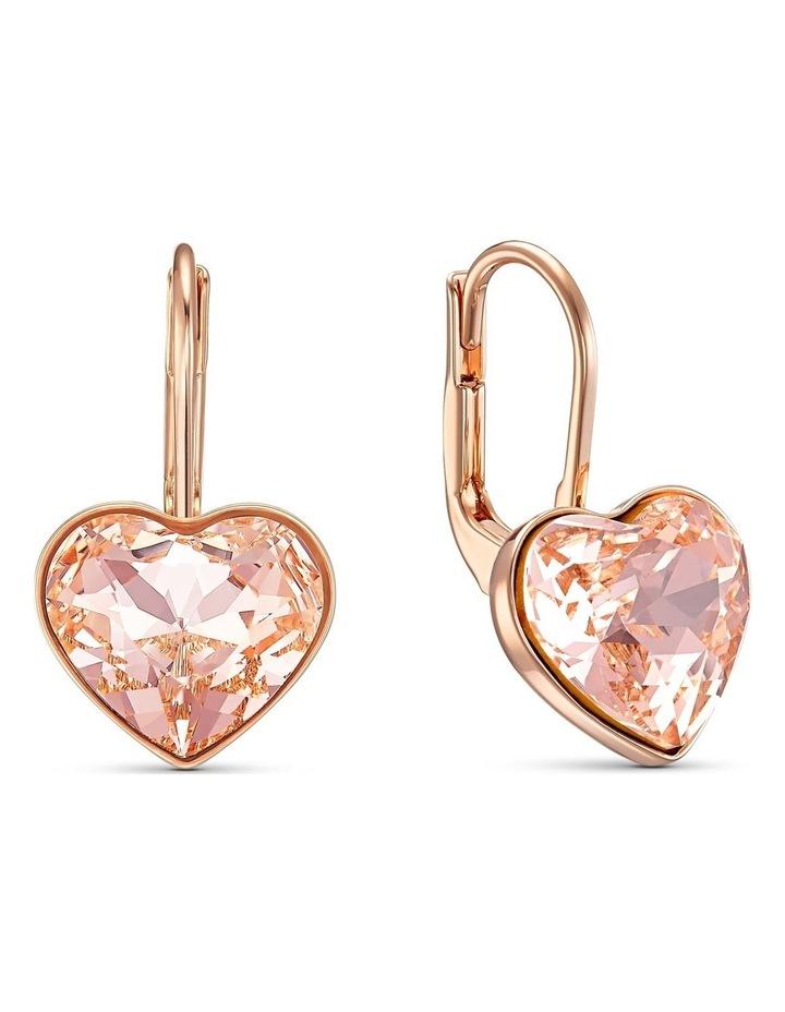 Bella Heart Pierced Earrings - Pink - Rose-gold Tone Plated image 2