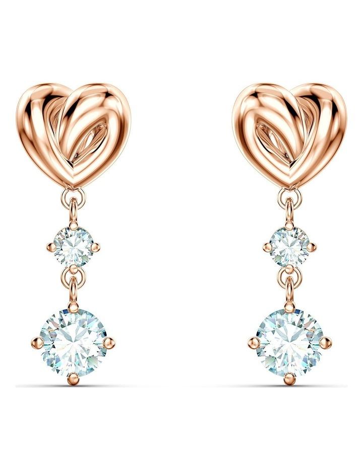 Lifelong Heart Pierced Earrings - White - Rose-gold Tone Plated image 1
