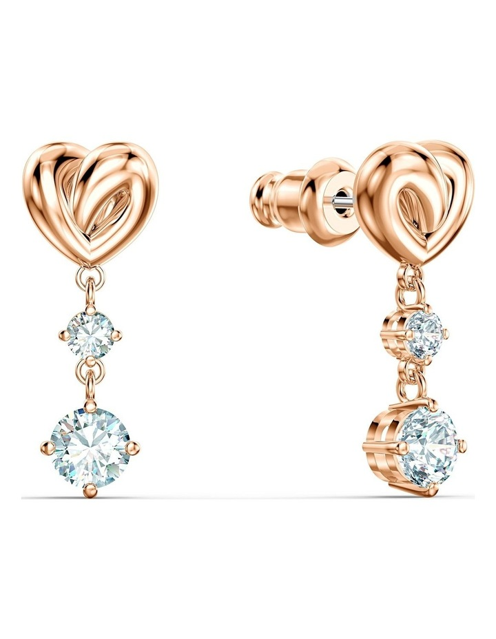 Lifelong Heart Pierced Earrings - White - Rose-gold Tone Plated image 2